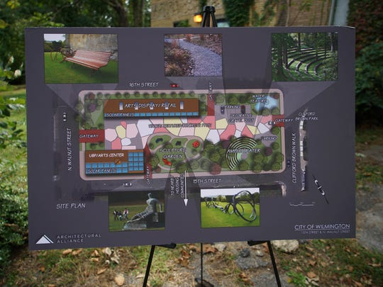 """Renderings of the planned new """"multidisciplinary arts habitat"""" on the grounds of the former Wilmington Police Department horse stables that will have an open-seat amphitheater and outdoor public art exhibition."""