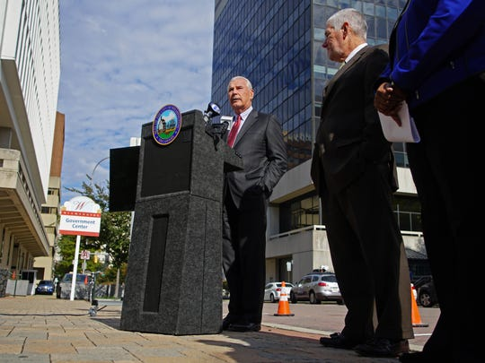Wilmington Mayor Mike Purzycki announces a new Parkmobile payment for metered parking in Downtown Wilmington where motorist will be able to pay for parking through the Parkmobile phone app at approximately 1,000 metered spaces in the downtown district.