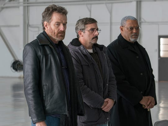 "Steve Carell (center) recruits his former Marine buddies Bryan Cranston and Laurence Fishburne to join him on a different kind of mission in ""Last Flag Flying."""