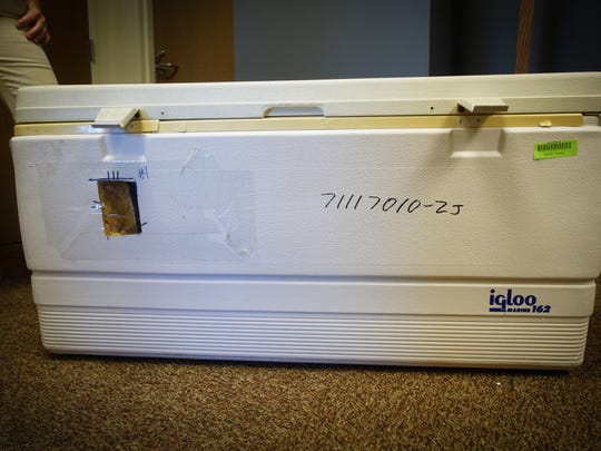 The 40.5 gallon Igloo fishing cooler that Tom Capano and his brother Gerald Capano used to dispose of Anne Marie Fahey's body of the New Jersey shore.