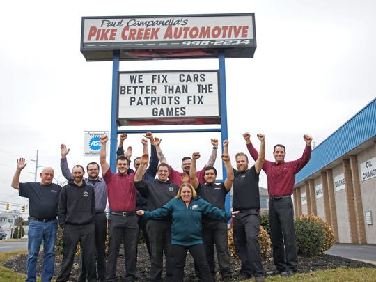 The staff at Paul Campanella's Pike Creek Automotive got creative with their Eagles spirit by creating sign for motorist along Limestone Rd.  to enjoy this week before the Eagles face off with the New England Patriots.