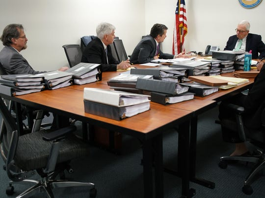 The public disciplinary hearing for Dover psychiatrist Gregory Villabona last year. His license was ultimately revoked.