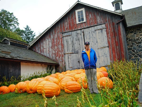H.G. Haskell grows the massive pumpkins on his farm