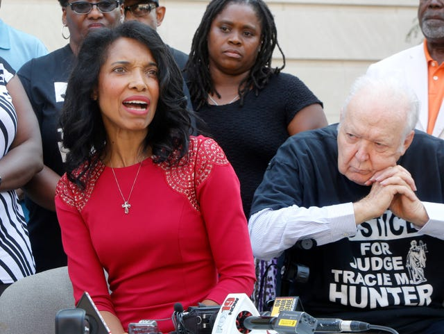 Tracie Hunter: Chaos erupts as ex-judge dragged off to serve