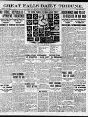 Front page of the Great Falls Tribune from Monday, June 18, 1917.