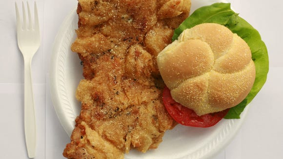 Breaded tenderloin: the shape of Indiana.