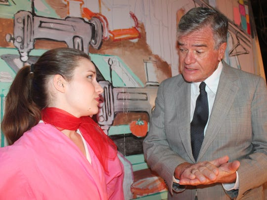 "Shannon Maloney and Larry Strauss in The Vero Beach Theatre Guild's production of ""The Pajama Game"""