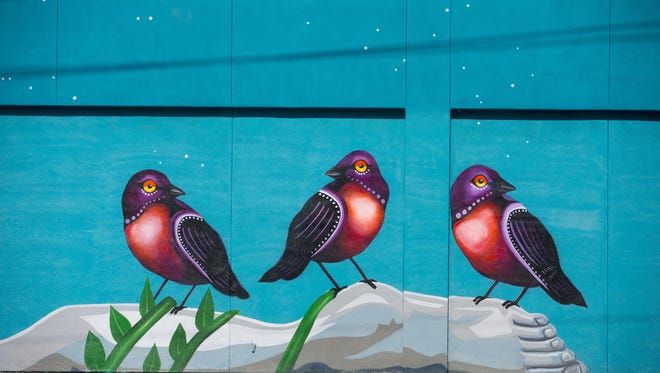 """Artist Lauren Lee recently finished  a mural near Hardy and 5th St. in Tempe titled, """"Don't Wake the Dreamer."""" June 25, 2015."""