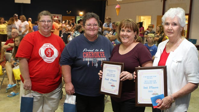 "Winners of the fifth annual ""I Scream for F.U.E.L. Ice Cream Freeze-Off"" were from right, 1st - Peggy Davis, first place; Amy Corlew, second; and in a tie for third, Anita Bannerman and Kristie Vertrees."