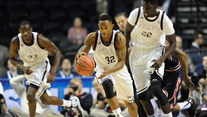 Mississippi State guard Craig Sword (32) dribbles the ball against Auburn Tigers during the first half of the first round of the SEC Tournament at Bridgestone Arena. Mandatory Credit: Joshua Lindsey-USA TODAY Sports