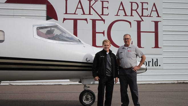 Larry Clement, owner of Clement Aviation, Inc. and Greg Klein, Lake Area Tech Aviation Maintenance instructor.
