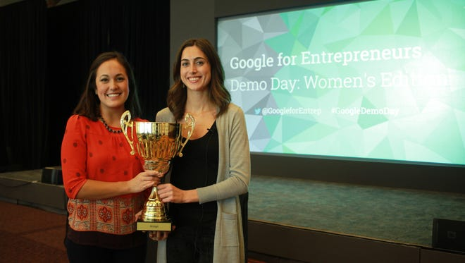 The winners of the first Google for Entrepreneurs Demo Day for women founders were Bridgit co-founders Lauren Hasegawa (left) and Mallorie Brodie. The company makes a communications platform for those working on large-scale construction projects.
