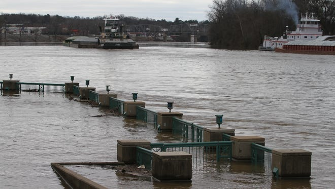 After the past weekend's heavy rains, the Cumberland River at Riverside Drive in Clarksville was on a rapid rise Tuesday.