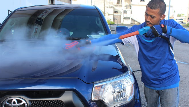 While a traditional car wash can use about 30 gallons of water, Stewart's Eco Auto Detail only uses about two gallons.