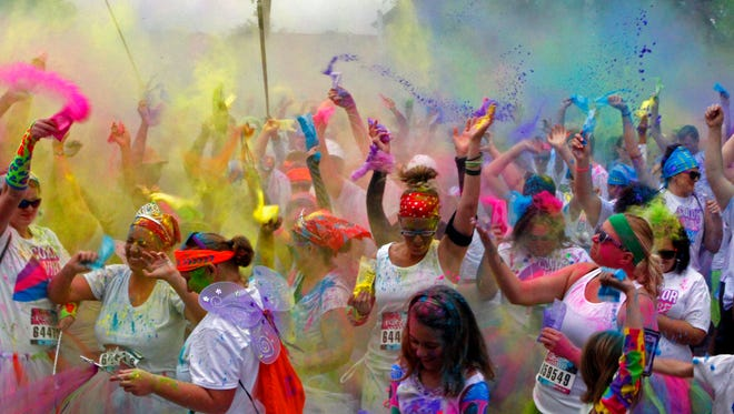 2,600 participants at this year's Color Vibe 5K. The event at Beachaven Winery will benefit the Montgomery County Friends of the Shelter.