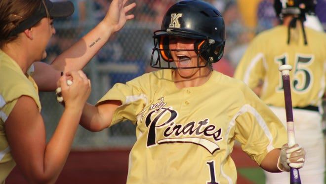 Kaplan's Abby Trahan celebrates with Kenzie Gaspard (No. 1) at home plate during the Lady Pirates 8-2 win in the semifinal against top-ranked Parkview Baptist.