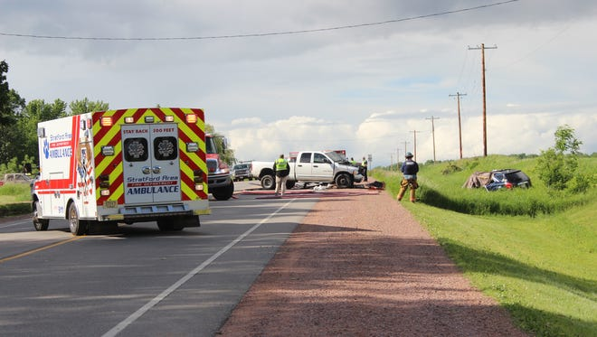 One person died and at least two others were hospitalized after a car accident on State 97 between Marshfield and Stratford on June 6, 2016.