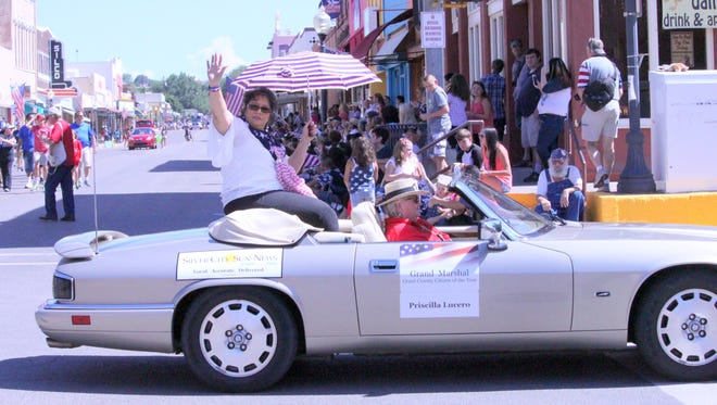 Priscilla Lucero was the Grand Marshal for the Fourth of July Parade on Monday. She was being driven in the Silver City Sun-News car.