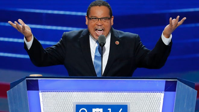 Rep. Keith Ellison, D-Minn., speaks during the first day of the Democratic National Convention. On Thursday, Ellison told the American Muslim Democratic Caucus that 'unity is often discussed but hard to achieve.'