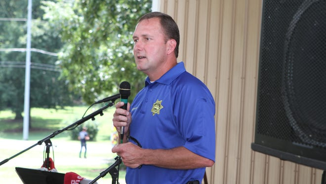 Montgomery County Sheriff John Fuson campaigns at the Lone Oak Picnic in Cunningham in 2014. Fuson won that election, and he didn't have any opponents in his run for re-election this year.