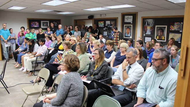 Marshfield School District residents and employees at a Marshfield School Board meeting on Sept. 14, 2016.