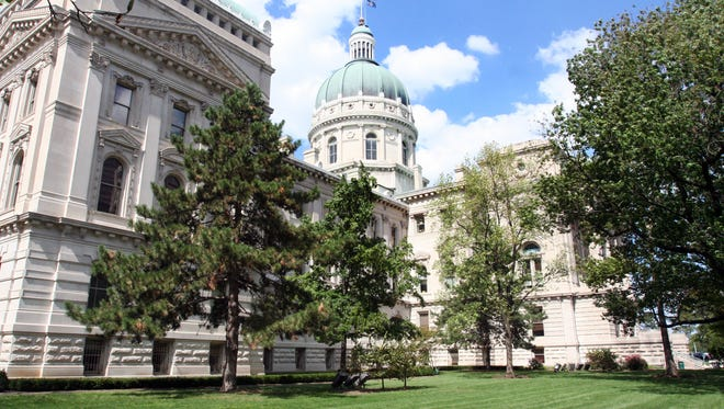 Exterior of the Indiana Statehouse looking from the south lawn. 