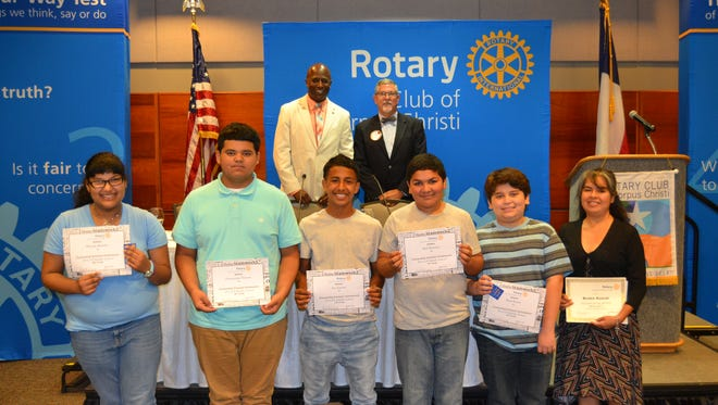 Driscoll students Brenda Morales (from left), Dominique Narvaez, Ace Lacour, Abel Romero, and Raul Reyna, and Victoria Flores (absent) were the Corpus Christi Rotary Club's recognized students for this month.