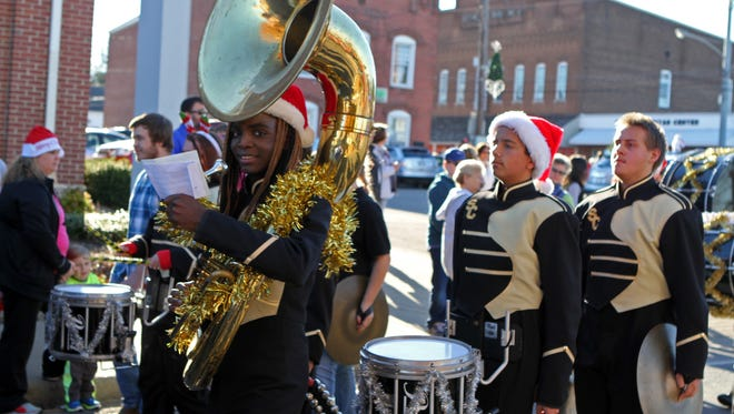 The Leaf-Chronicle/Tony Centonze Members of the Stewart County High School Marching Rebels at Saturday's Christmas Parade in Dover. Members of the Stewart County High School Marching Rebels at Saturday's Christmas Parade in Dover.