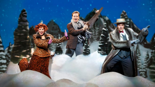 """From left: Dani Marcus as Miss Barley, Kevin Massey as Monty Navarro and John Rapson as Asquith D'Ysquith, Jr. in a scene from """"A Gentleman's Guide to Love & Murder,"""" at the Aronoff Center through Jan. 8."""