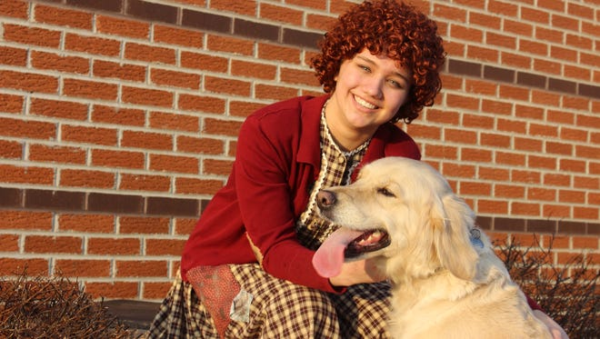 """Elaina Thoma is Annie in Manitowoc Lutheran's production of """"Annie,"""" running March 10-12."""