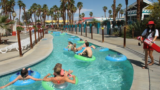 Riders float along the Sunset River at Wet 'N' Wild in Palm Springs in March 2014.  Wet 'n' Wild is scheduled to open for weekends starting March 10 and daily for spring break, March 22 through April 8, 2018.
