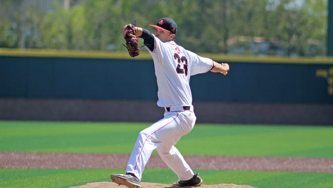 Dixie High alum Chris Petrosie shown while pitching for Academy of Art, 2017.