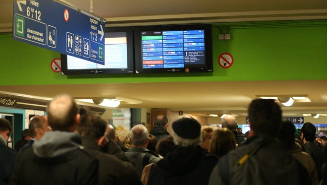 People look at displays inside the North station on March 22, 2016 in Brussels.