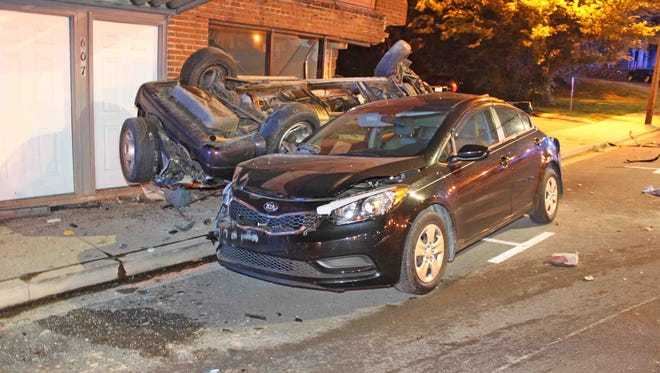 A crash that killed a man and sent a woman to the hospital in serious condition damaged four other vehicles and building on Franklin Street near University Avenue overnight Sunday, June 3, 2017