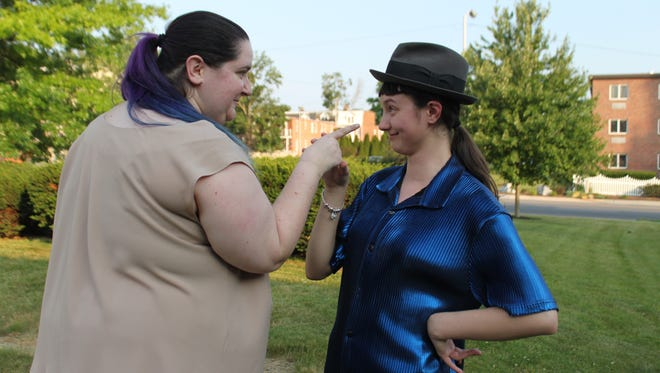 """Ashley Pierce, left, is Katherine and Brooke Weber is Petrucchio in """"The Taming of the Shrew,"""" presented by DreamWrights' Theatre Under the Trees July 21-30."""
