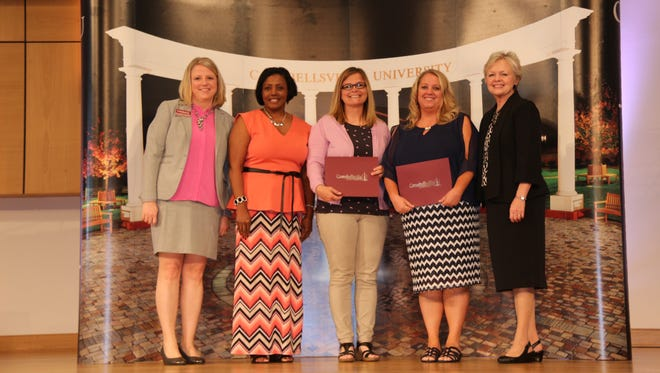 From left are: Dr. Donna Hedgepath, vice president for academic affairs; Tamala Howard, principal, Uniontown Elementary School; Sherry King, Uniontown Elementary School; Joie Logsdon, Union County High School; and Dr. Beverly Ennis, Dean of the Campbellsville University School of Education.