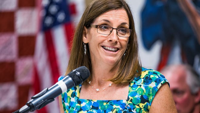 Rep. Martha McSally, R-Ariz, speaks at the grand re-opening of a veterans center at the University of Arizona, Monday, August 21, 2017.