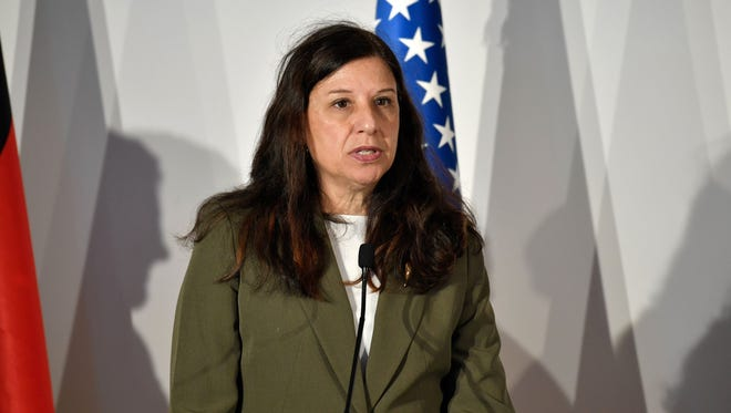 Acting Secretary of the Department of Homeland security Elaine Duke is pictured answering questions at the G7 summit of Interior Ministers earlier this month.