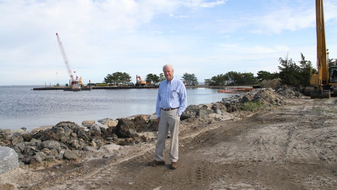 Ocean County Freeholder John C. Bartlett Jr. on a recent inspection visit to Berkeley Island County Park, which is to reopen in mid-2018.