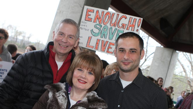Joe Pitts, Cynthia Pitts and Jason Hodges at Saturday's March for Our Lives at Clarksville's McGregor Park.