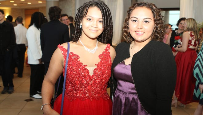 Bethany Chambers and Tylese Nieves at the West Creek High School Prom at the James E. Bruce Convention Center Saturday.