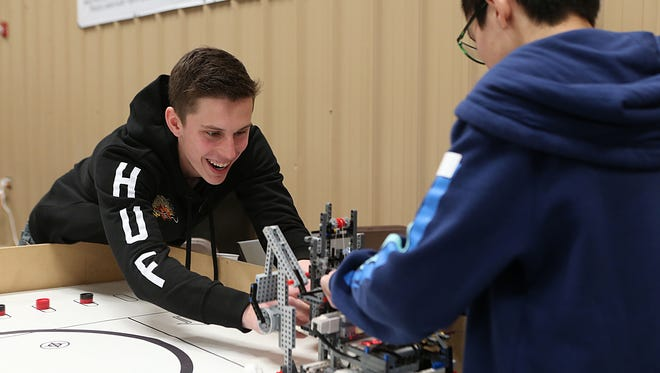 Home-schooler Nathan Waldron competes with his team at the San Angelo Stock Show and Rodeo's third annual junior robotics competition, February 2, 2018.