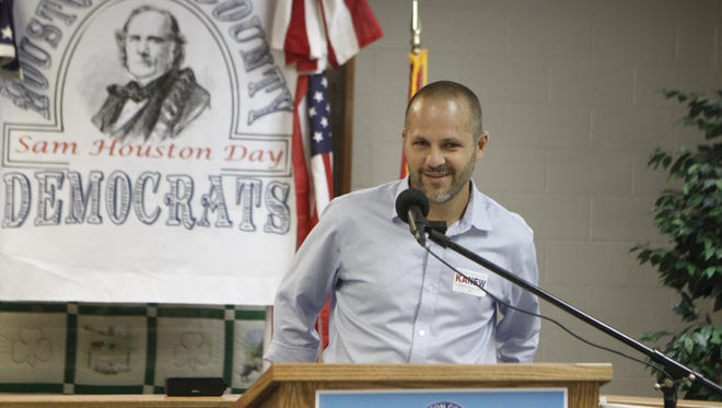 Justin Kanew, candidate for Congress, shared his ideas at Monday's Houston County Democratic Party Community Banquet in Erin on Saturday.