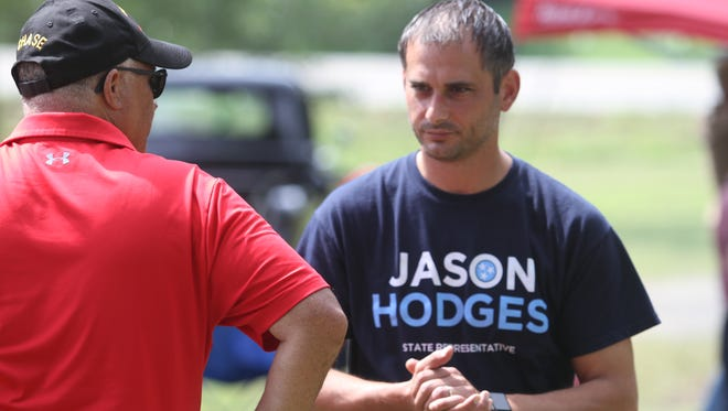 Jason Hodges, candidate for state House, at the 110th Annual Lone Oak Picnic on Saturday.
