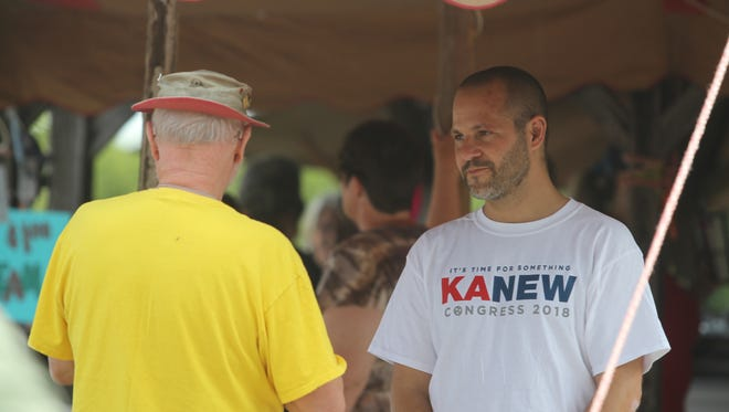 Justin Kanew, candidate for Congress, at the 110th Annual Lone Oak Picnic on Saturday.