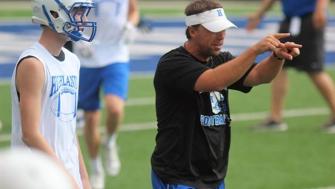 Highlands head coach Brian Weinrich during a 7on7 July 24, 2018.