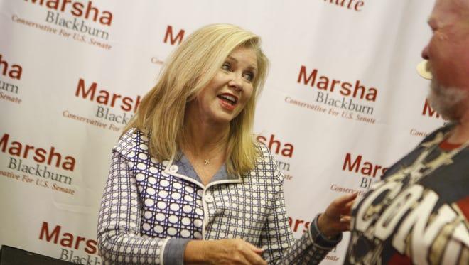 Marsha Blackburn spoke at Montgomery County GOP Headquarters during Thursday's primary.
