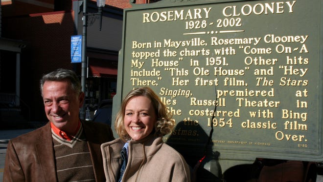 """Actors Michael Marotta and Susan Haefner, stars of """"Tenderly: The Rosemary Clooney Musical,"""" visited Clooney's old stomping grounds of Augusta and Maysville, before the shows began."""