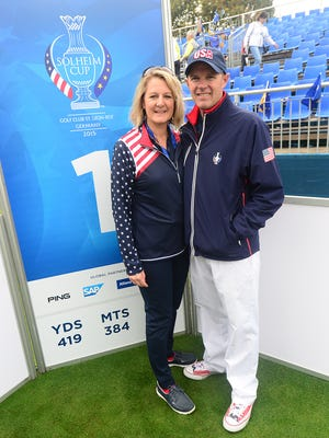 Chris Garrett, right, tournament director for the 2017 Solheim Cup in West Des Moines, is pictured with his wife, Kim, at the First Tee for the 2015 Solheim Cup held in St. Leon Rot, Germany.