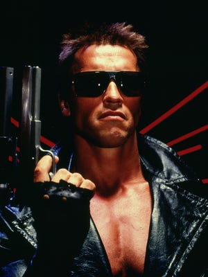 "Arnold Schwarzenegger in a scene from the 1984 motion picture ""The Terminator."""